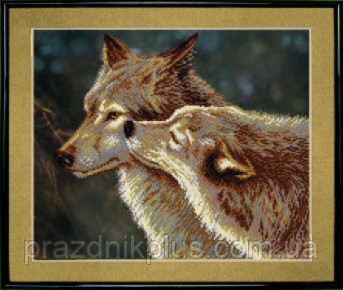 Схема для вышивания бисером на авторской канве волки