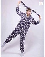 Пижама кигуруми женская махровая с ушками серая теплая кигуруми р. 42-50