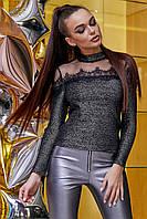 Красивая нарядная кофточка с люрексом и сеткой 42-48 размера черная с серебром
