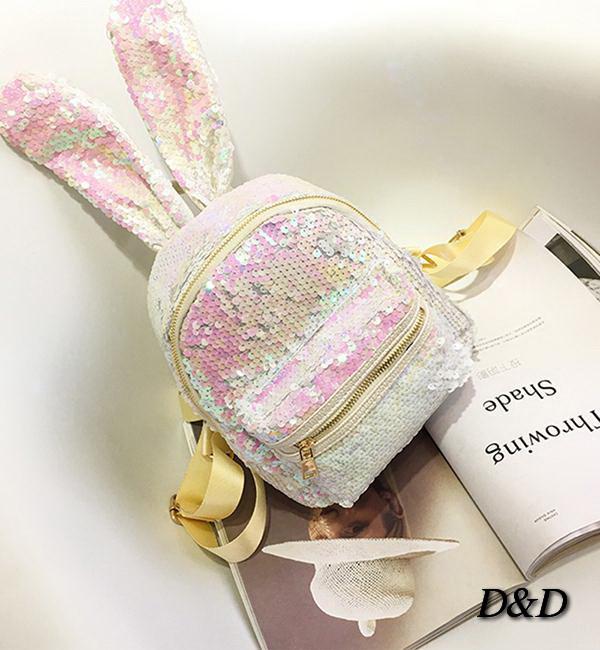 Дитячий міні-рюкзак з паедками двухстороннний з вушками