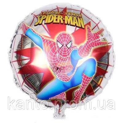 Шар фольгированный круглый Человек Паук на серебряной паутине