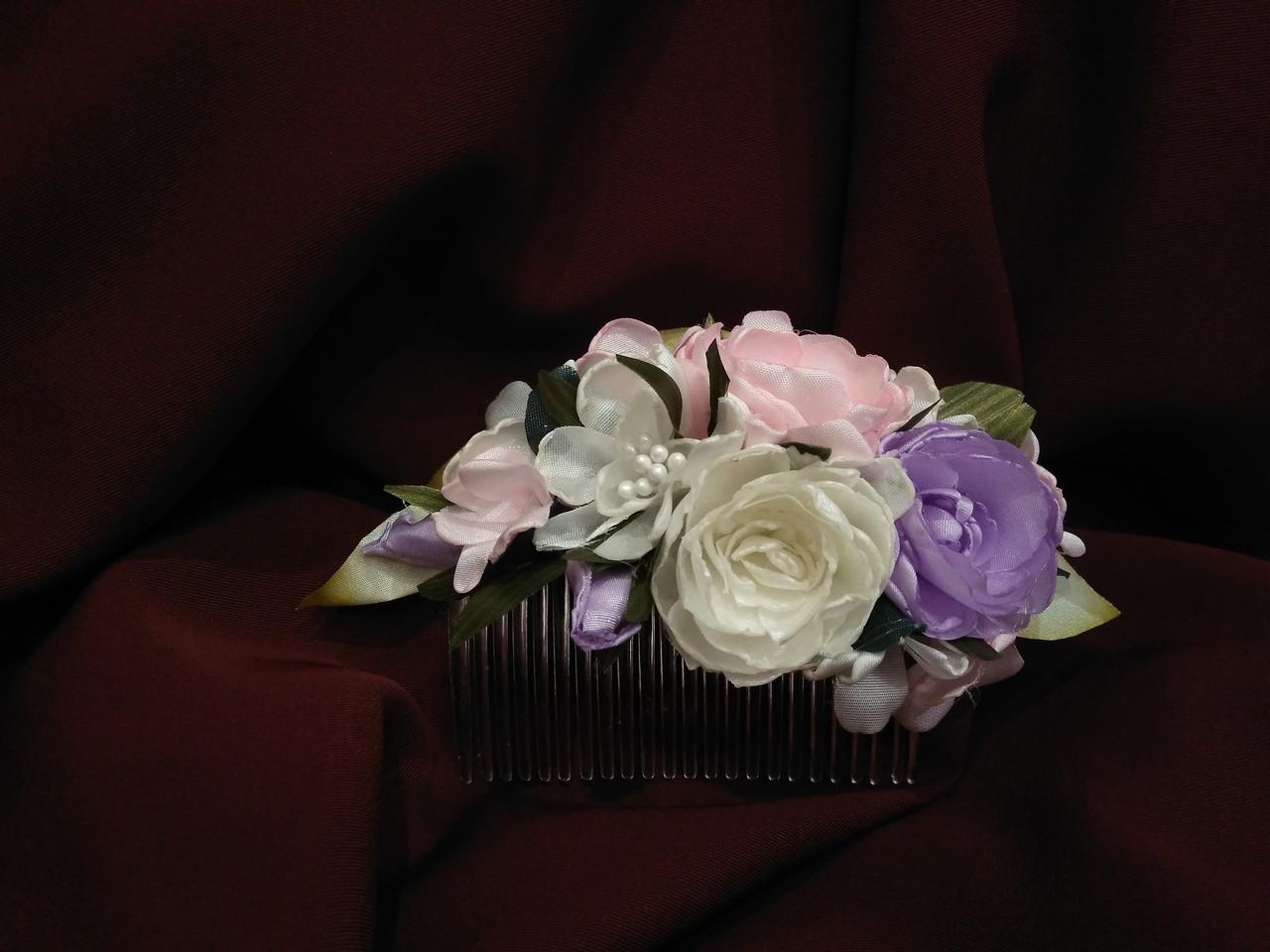Гребень для волос розовый с молочным и сиреневым
