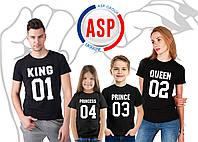 Футболки для всей семьи Family Look Фэмили лук футболки для мамы папы и детей King Queen Prince Princess