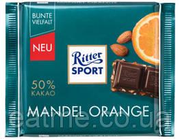 Ritter Sport Чёрный шоколад с кусочками апельсина и миндаля