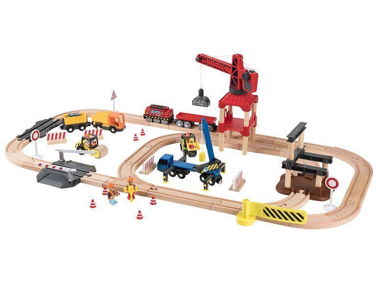 Деревянная железная дорога Строительная площадка 3,8м 67 элементов PlayTive Junior