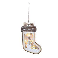 Декор LED Варежка со Снеговиком 18см 108182