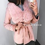 Женская дубленка удлиненная с натуральным мехом кролика, серая,розовая,хакки, фото 3