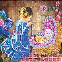 """Схема для вышивания бисером на художественном холсте """"Маленькая мама"""""""
