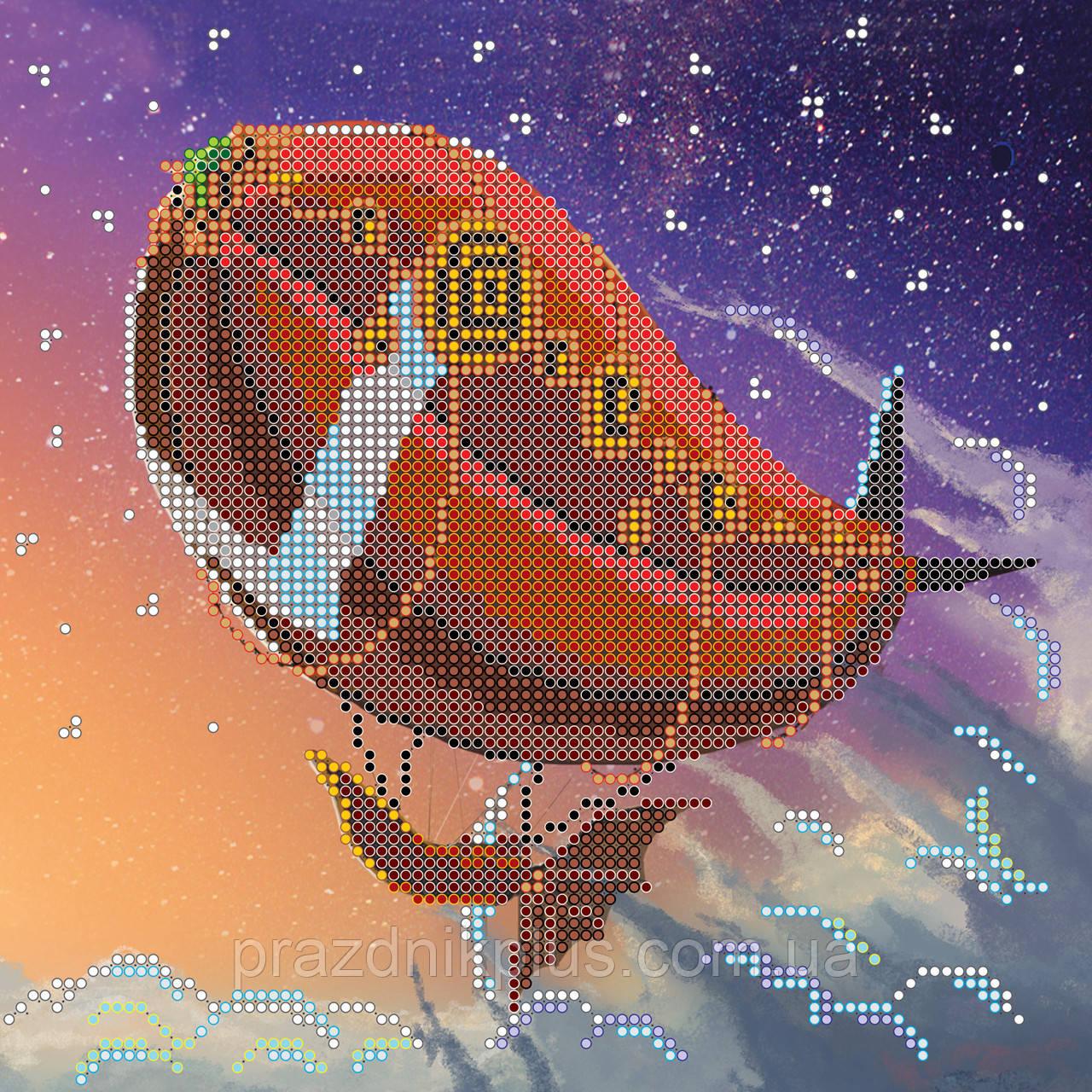 """Схема для вышивания бисером на художественном холсте """"Дирижабль"""""""