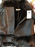 Женская зимняя дубленка косуха короткая с большым мехом, фото 3
