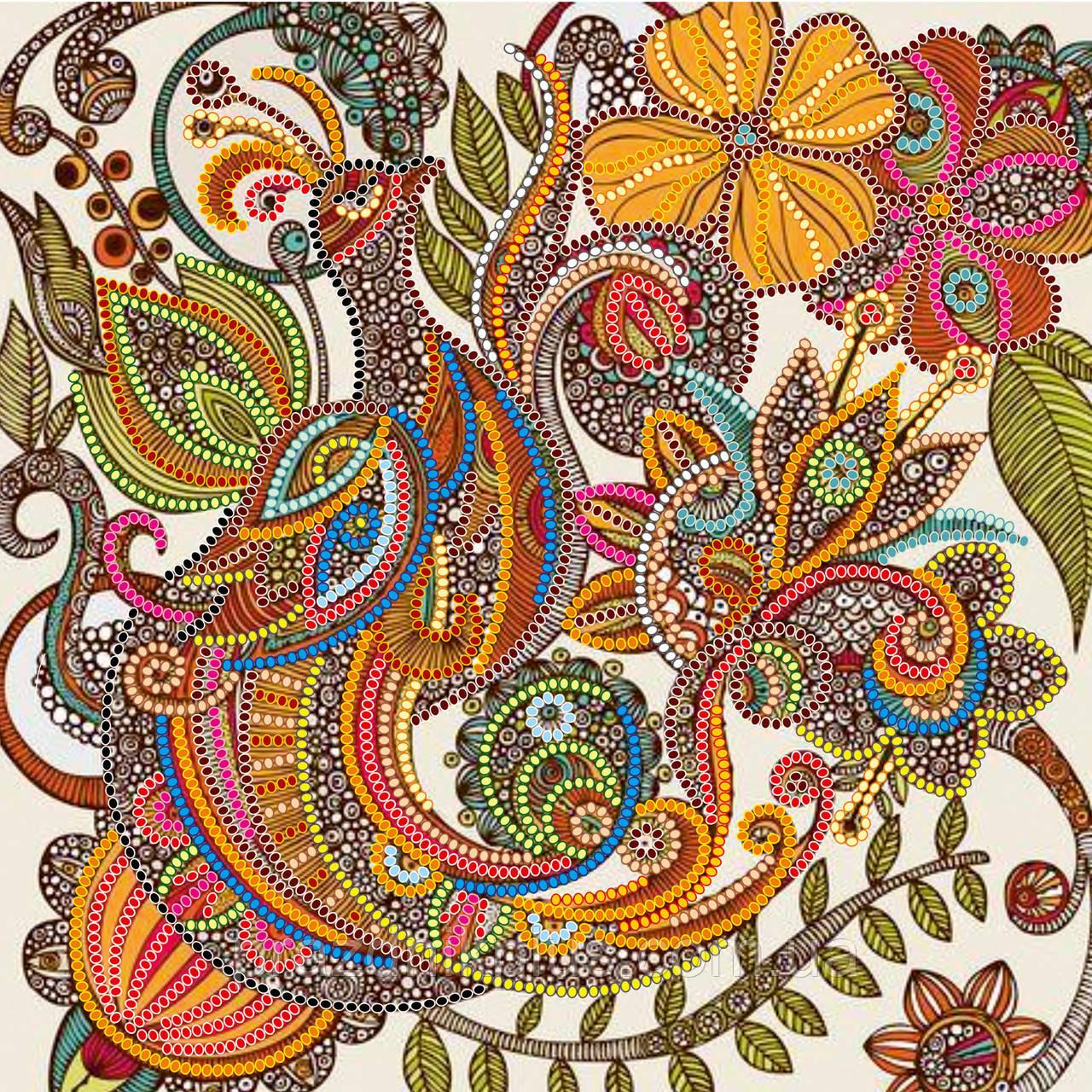 """Схема для вышивания бисером на художественном холсте """"Сказочная птица"""""""