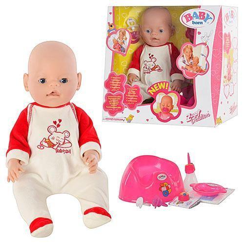 Пупс Baby Born 8001-6 42см,9функций,пищит,ест,пьет,МОЖНО КУПАТЬ