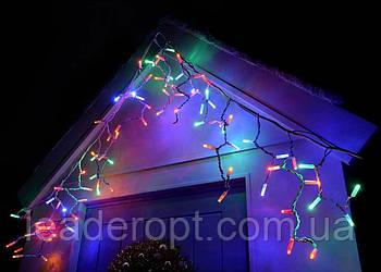 """[ОПТ] Вулична новорічна світлодіодна гірлянда є icicle """"Бахрома"""" з мерехтінням на чорному проводі 180LED, 5 м."""