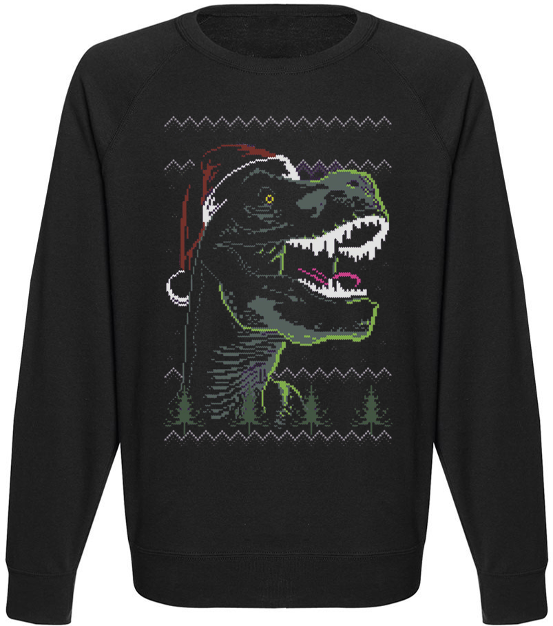 Мужской свитшот Funky Christmas Dinosaur (чёрный)