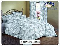 Одеяло из овечьей шерсти в сатине 172x205 см. 40-0697 white on black