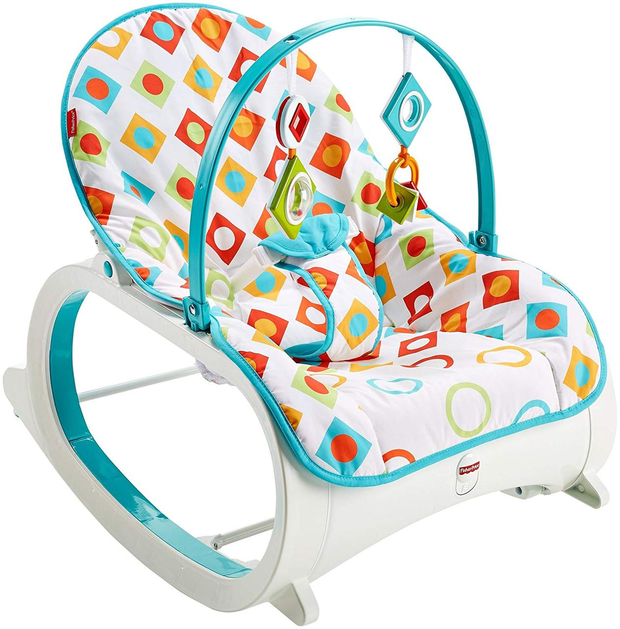 Fisher-Price Кресло-качалка с вибрацией шезлонг Бриллиант Infant to Toddler Rocker Geo Diamonds