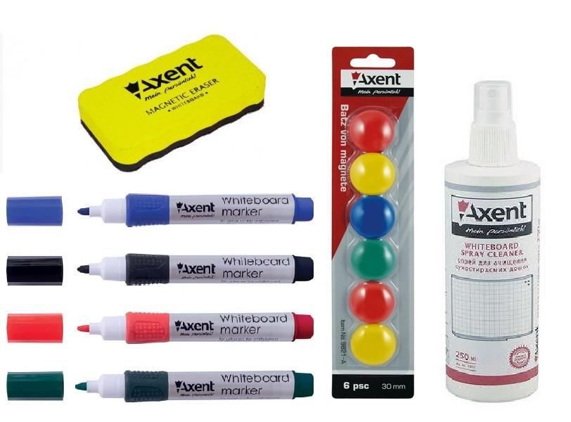 Набор для маркерно-магнитных досок и флипчартов (4 -ри маркера , губка, магниты , СПРЕЙ ) Axent A.123