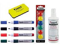 Набор для маркерно-магнитных досок и флипчартов (4 -ри маркера , губка, магниты , СПРЕЙ ) Axent A.123, фото 1