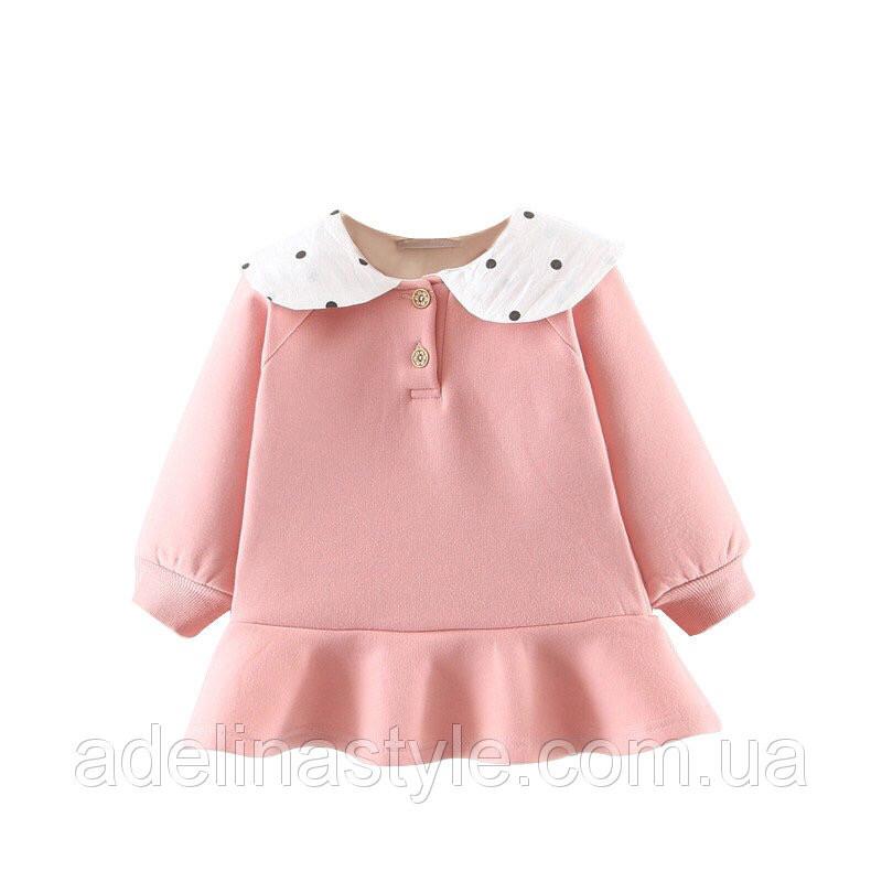 Нарядное платье -туника на девочку  1-3 года розовое теплое на микромеху
