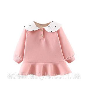 Нарядное платье -туника на девочку  1-3 года розовое теплое на микромеху, фото 2