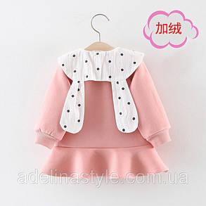 Нарядное платье на девочку  1-3 года розовое теплое на микромеху, фото 2