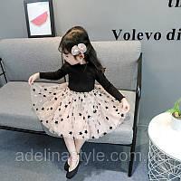 Нарядное пишное детское  платье  на девочку с длинным рукавом  1-4 года