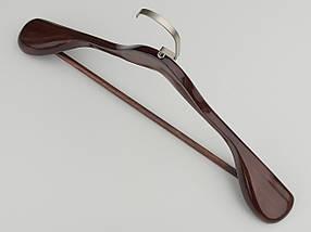 Длина 45 см. Плечики вешалки тремпеля деревянные широкие  коричневого цвета с многослойным покрытием лаком., фото 2