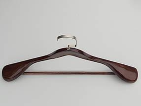 Длина 45 см. Плечики вешалки тремпеля деревянные широкие  коричневого цвета с многослойным покрытием лаком., фото 3