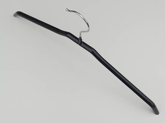 Плечики вешалки тремпеля металлический в силиконовом покрытии черного цвета, длина 44  см, фото 2