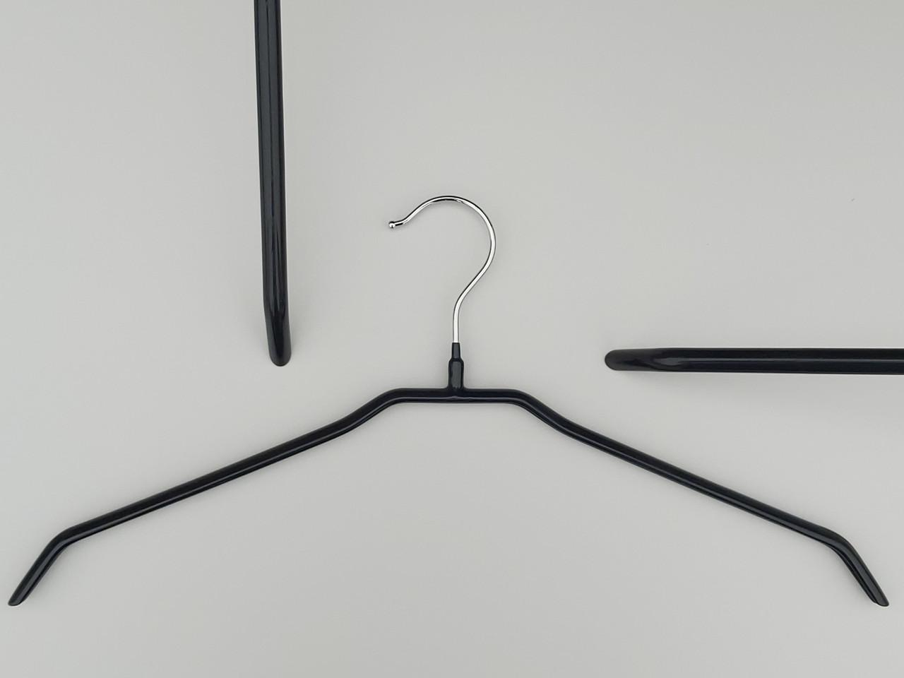 Плечики вешалки тремпеля металлический в силиконовом покрытии черного цвета, длина 44  см