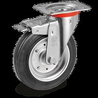 Уценка! Поворотное колесо с тормозом 200 мм черная резина 205кг