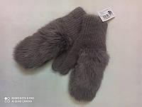 Варежки с мехом кролика  ODISSEY 45408 стальной