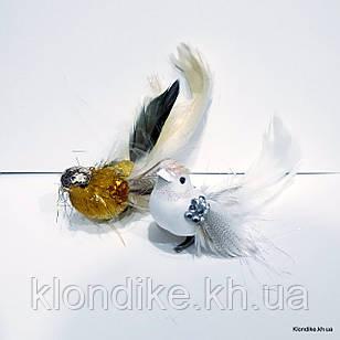 Птички декоративные, пластик, 16 см, Цвет: Золотой, Белый (2 шт./набор)
