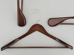 Плечики длиной 45 см вешалки деревянные широкие коричневого цвета с многослойным покрытием лаком