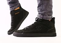 Ботинки мужские демисезонные черные из натурального нубука, фото 1