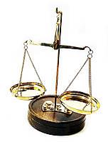 Весы бронзовые на деревянной подставке (50 гр.)(19х11,5х11,5 см)
