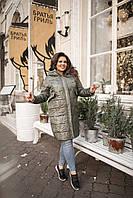 Длинная куртка-пальто из плащевки + синтепон 200, с капюшоном и карманами, застежка молния (48-58) Хаки