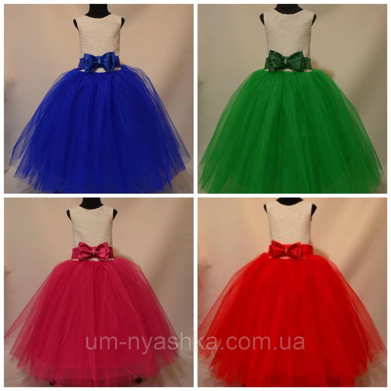Пышное нарядное платье с цветами Лилия на 4-5, 6-7, 8-9 лет