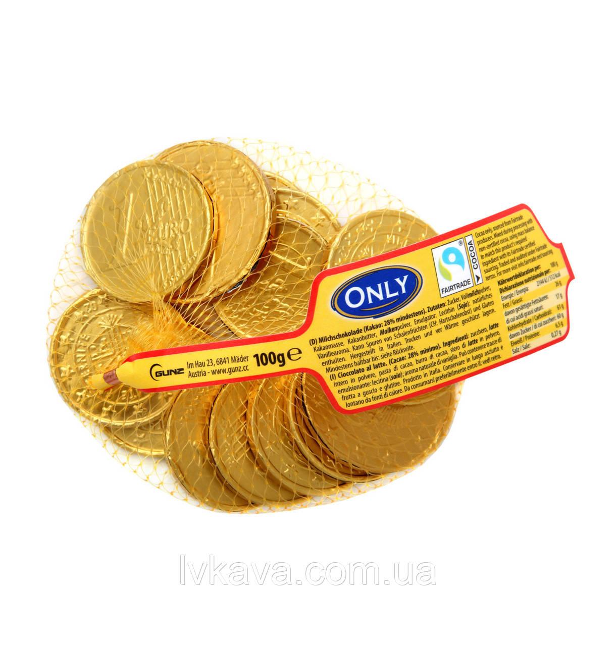 Молочный шоколад Gold coins  Only, 100 гр