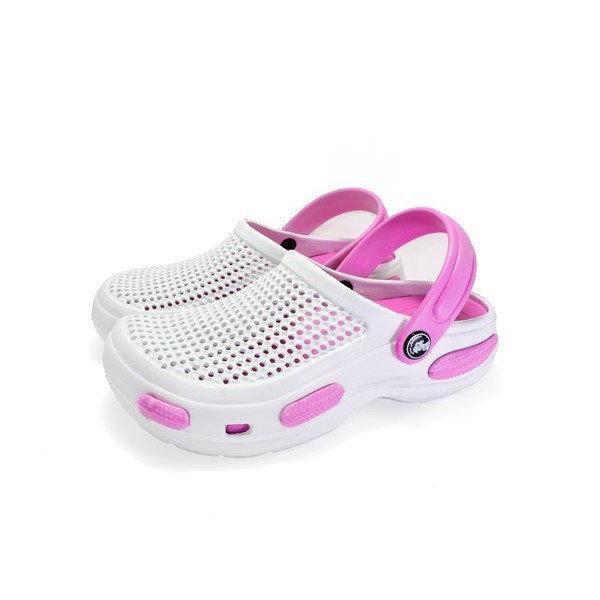 Кроксы из пены ЭВА, р 36, 37, 38, 39, 40 Белые с розовым сабо женские или для девочки.