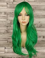 Парик прямой каскад зеленый 70см с косой челкой