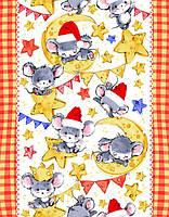 Ткань для вафельных полотенец ш.50 Мышки на сыре