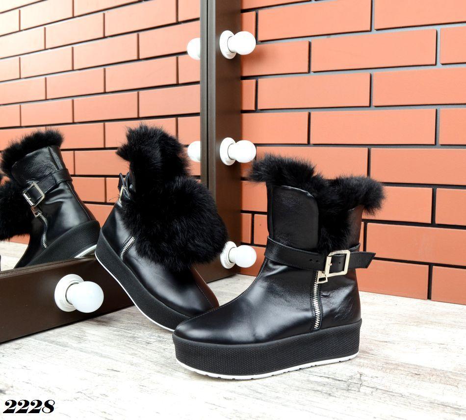 Женские зимние черные ботинки, из натуральной кожи  36 39 ПОСЛЕДНИЕ РАЗМЕРЫ