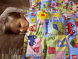 Детское сенсорное одеяло. 110х140см, 3кг, с кармашками на замочках, наполнитель из гречневой шелухи.