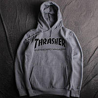 Худи Trasher | Толстовка серая трешер