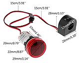 Цифровий вольтметр-амперметр AC 60-500 V 0-100A жовтий круглий дисплей, фото 2