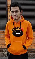 Оранжевая теплая мужская толстовка c капюшоном, худи на флисе, кенгурушка, батник ONYX, Реплика