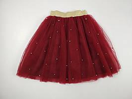 Бордовая детская юбка из фатина с бусинами 110-140 р
