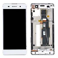 Дисплей (LCD) Sony F3111 Xperia XA, F3112, F3113, F3115, F3116, с тачскрином и рамкой, белый ориг.