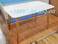 Стол кухонный Бук с Белой столешницей не раскладной Модерн 120х75 СО-293 массив Бук+ МДФ
